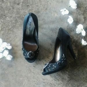 Nine West Black Satin Beaded Heels 7M